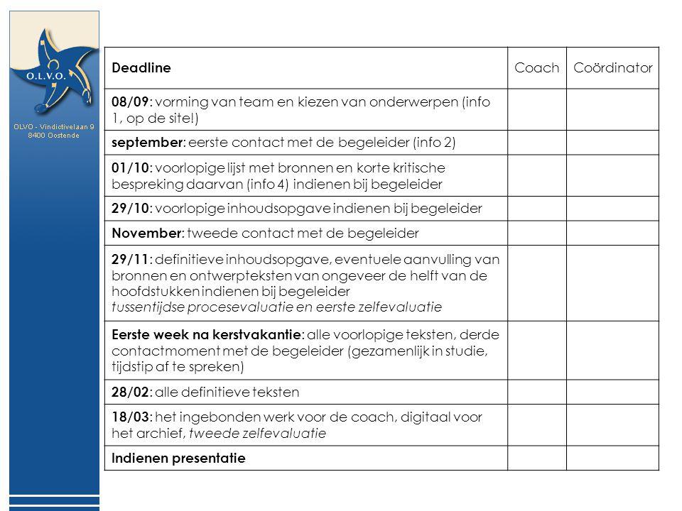 Deadline Coach. Coördinator. 08/09: vorming van team en kiezen van onderwerpen (info 1, op de site!)