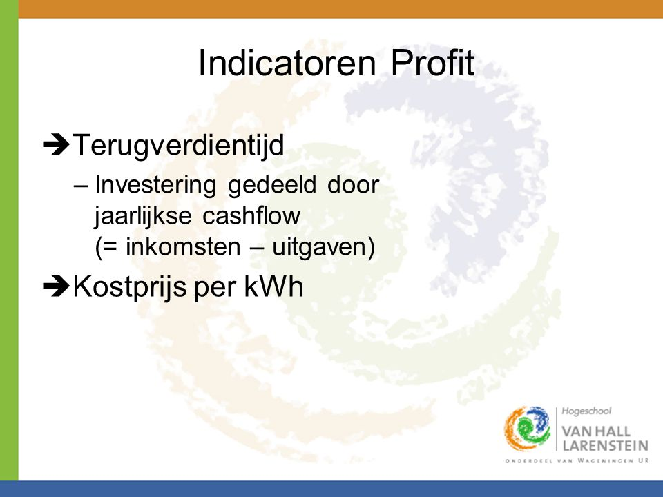 Indicatoren Profit Terugverdientijd Kostprijs per kWh