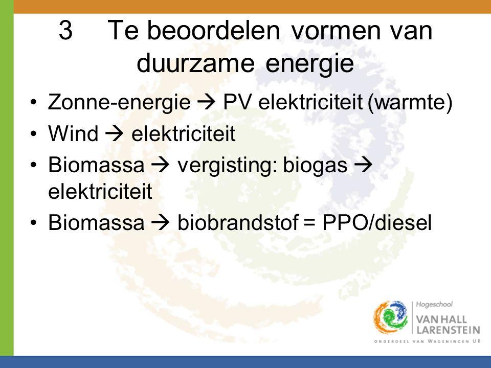 3 Te beoordelen vormen van duurzame energie