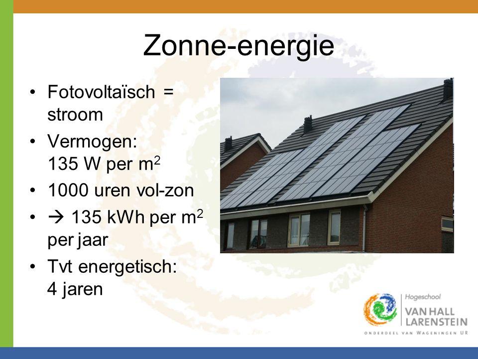 Zonne-energie Fotovoltaïsch = stroom Vermogen: 135 W per m2