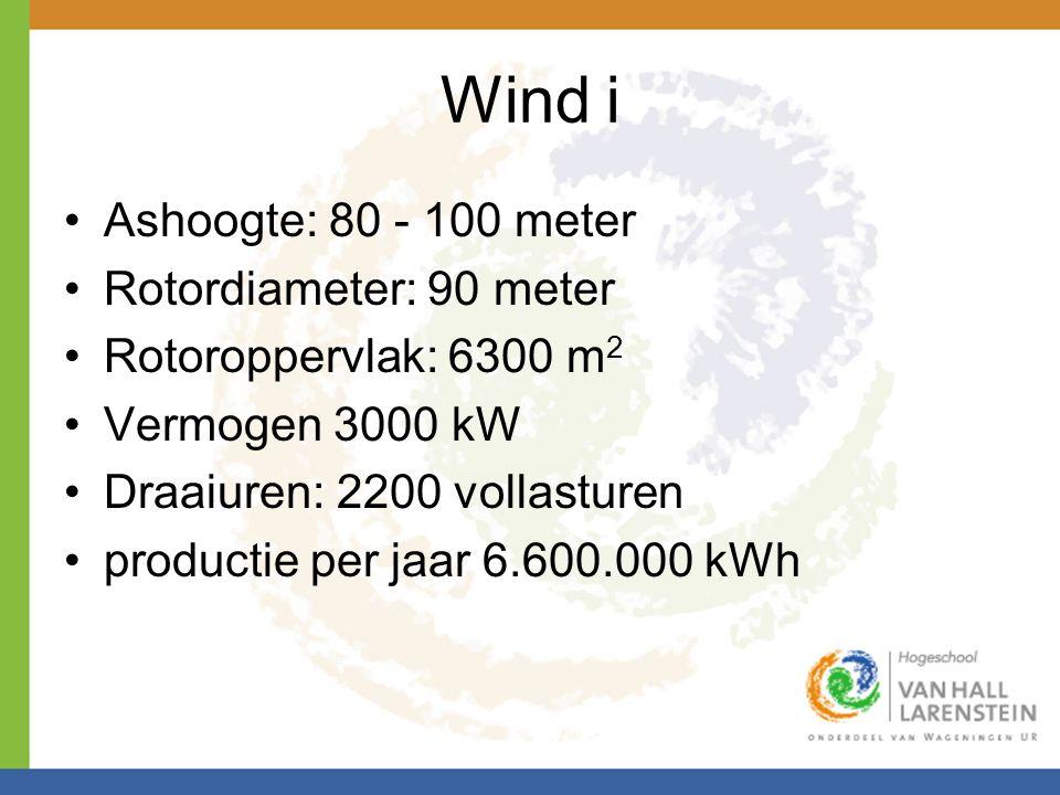 Wind i Ashoogte: 80 - 100 meter Rotordiameter: 90 meter