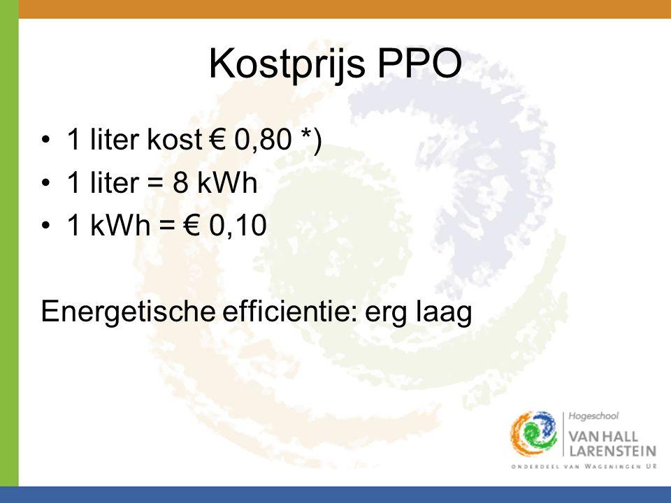 Kostprijs PPO 1 liter kost € 0,80 *) 1 liter = 8 kWh 1 kWh = € 0,10