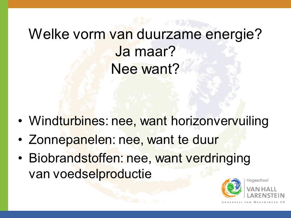 Welke vorm van duurzame energie Ja maar Nee want