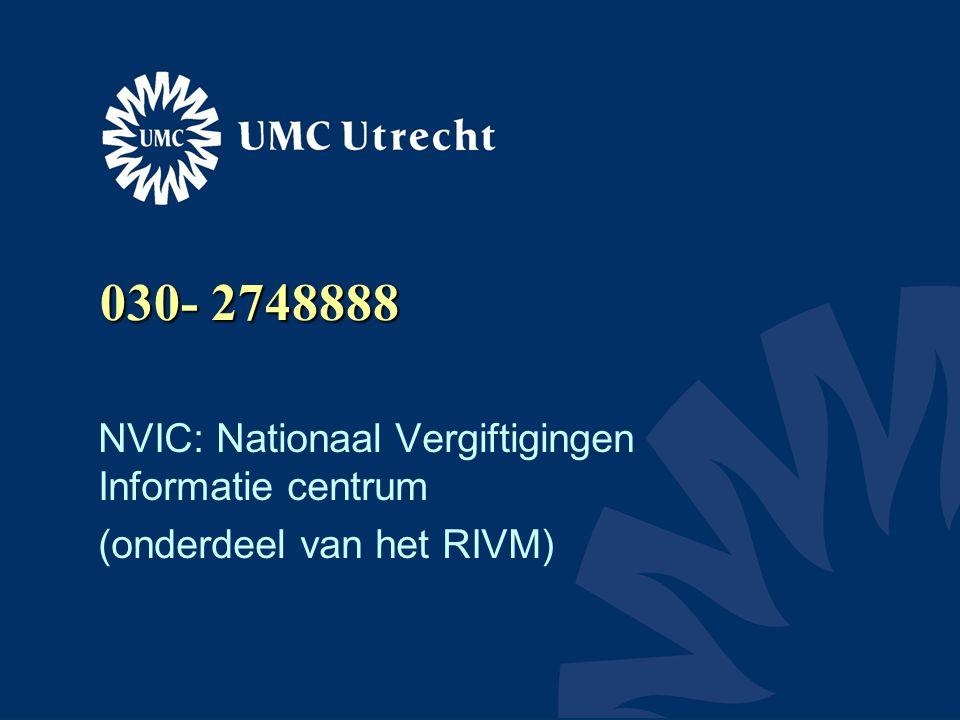 030- 2748888 NVIC: Nationaal Vergiftigingen Informatie centrum