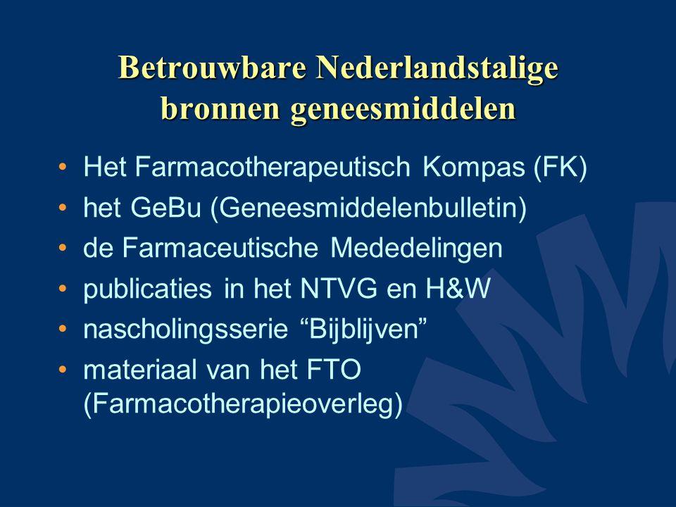 Betrouwbare Nederlandstalige bronnen geneesmiddelen