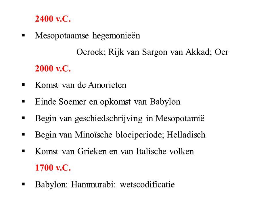 2400 v.C. Mesopotaamse hegemonieën. Oeroek; Rijk van Sargon van Akkad; Oer. 2000 v.C. Komst van de Amorieten.