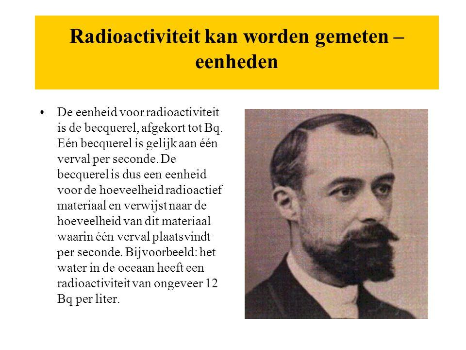Radioactiviteit kan worden gemeten – eenheden
