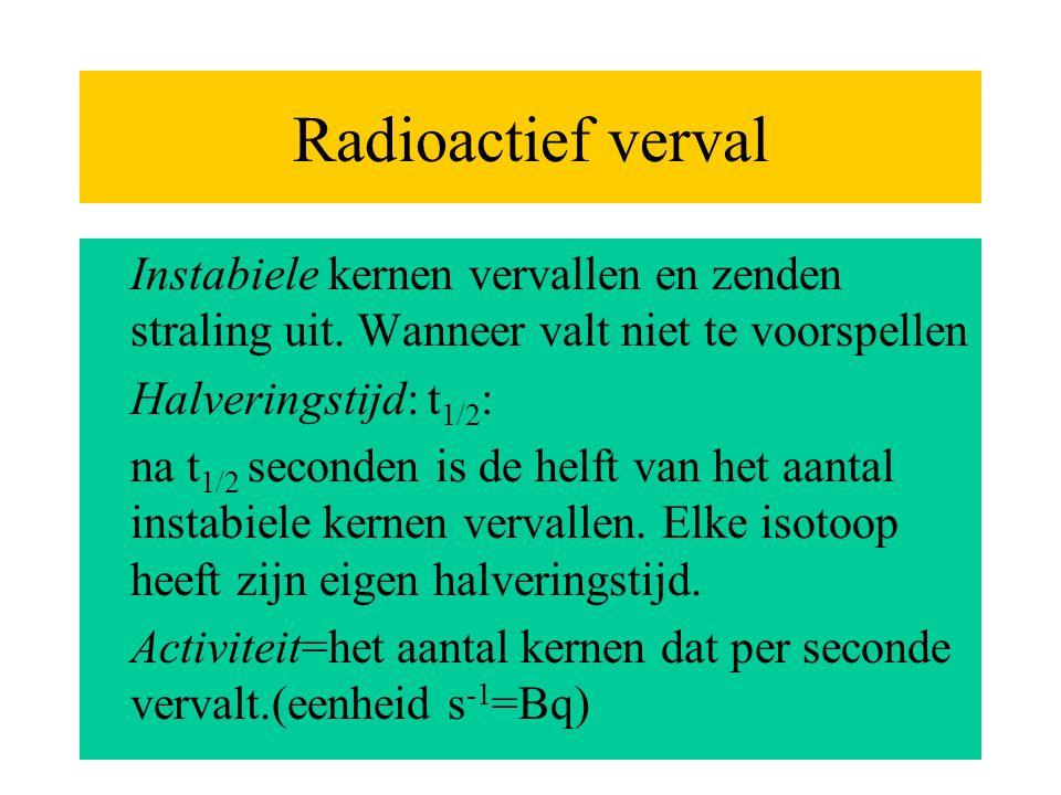 Radioactief verval Instabiele kernen vervallen en zenden straling uit. Wanneer valt niet te voorspellen.