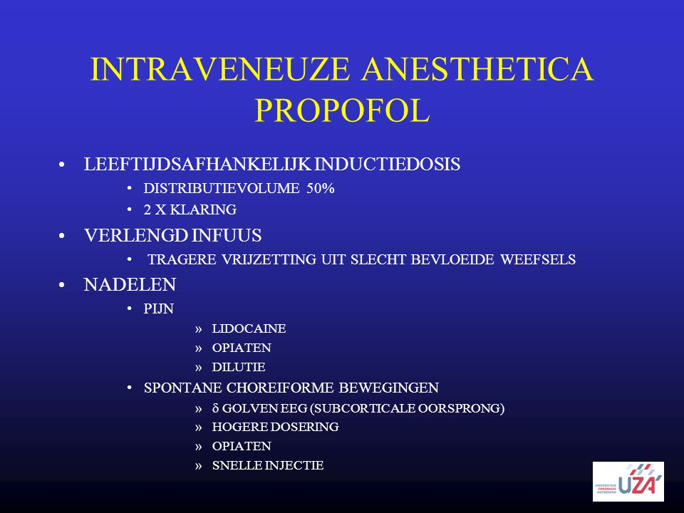 INTRAVENEUZE ANESTHETICA PROPOFOL