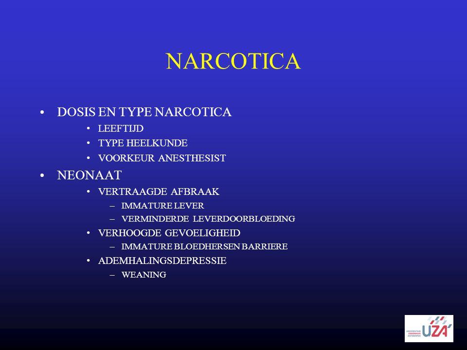 NARCOTICA DOSIS EN TYPE NARCOTICA NEONAAT LEEFTIJD TYPE HEELKUNDE