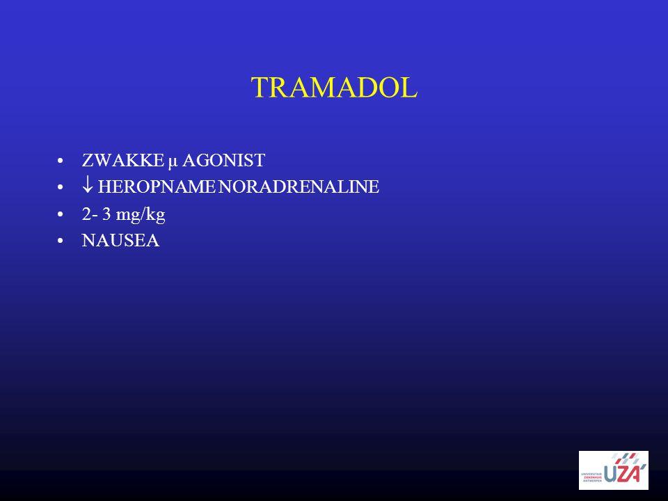 TRAMADOL ZWAKKE µ AGONIST  HEROPNAME NORADRENALINE 2- 3 mg/kg NAUSEA