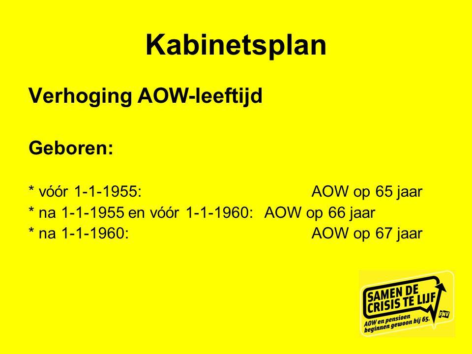 Kabinetsplan Verhoging AOW-leeftijd Geboren: