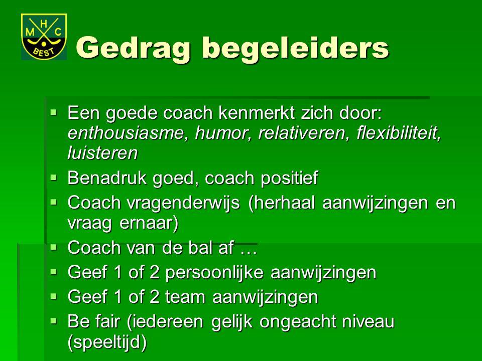 Gedrag begeleiders Een goede coach kenmerkt zich door: enthousiasme, humor, relativeren, flexibiliteit, luisteren.