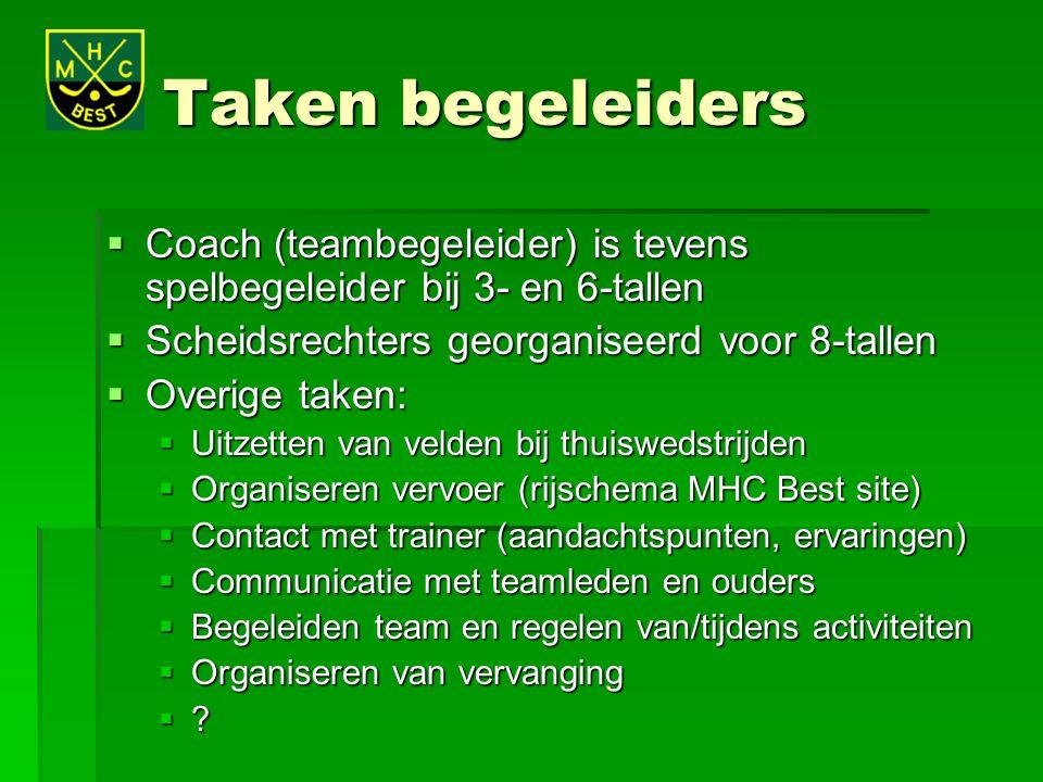 Taken begeleiders Coach (teambegeleider) is tevens spelbegeleider bij 3- en 6-tallen. Scheidsrechters georganiseerd voor 8-tallen.