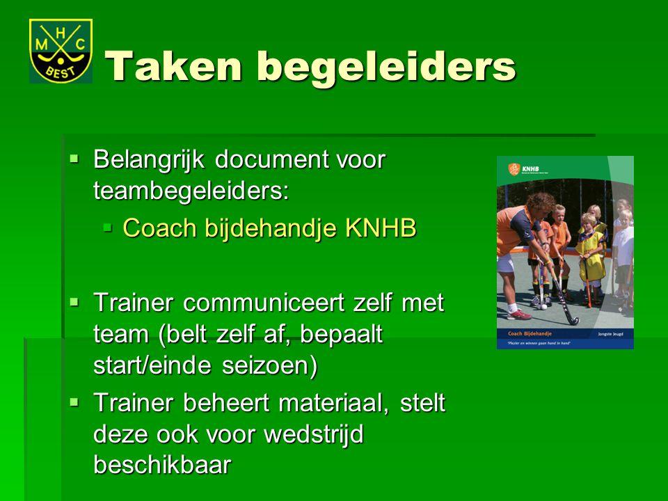 Taken begeleiders Belangrijk document voor teambegeleiders: