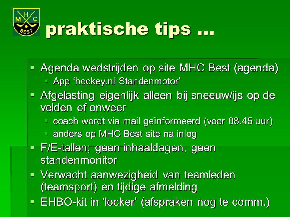 praktische tips … Agenda wedstrijden op site MHC Best (agenda)