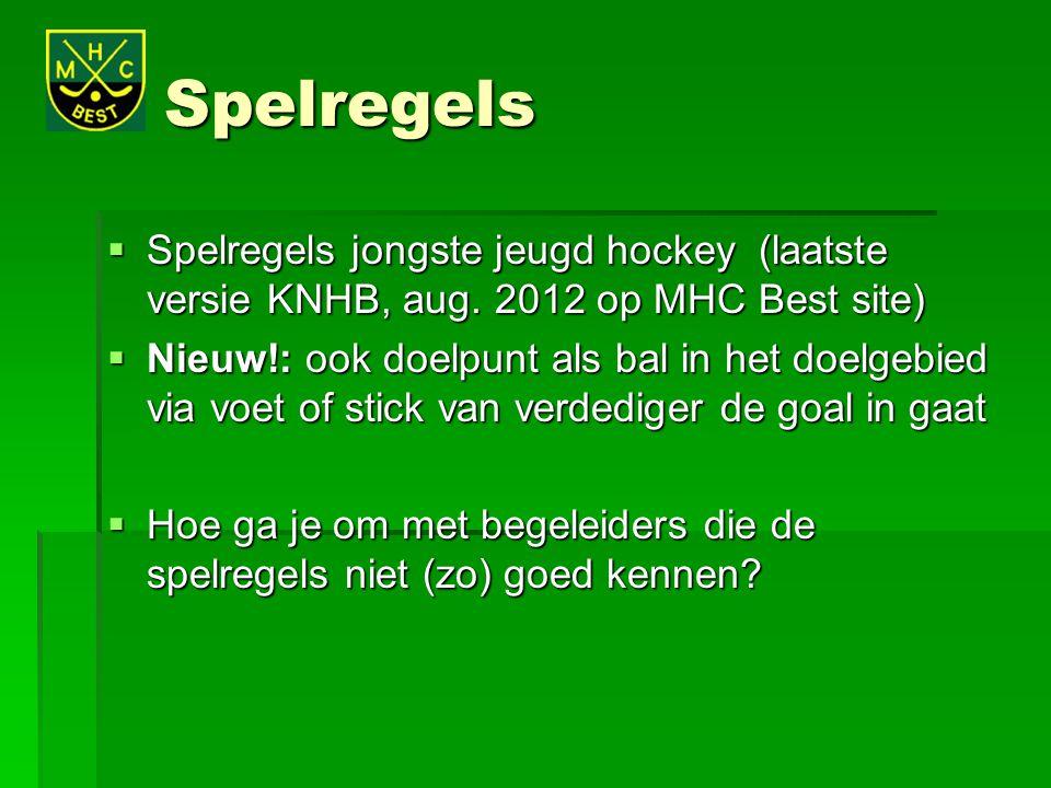 Spelregels Spelregels jongste jeugd hockey (laatste versie KNHB, aug. 2012 op MHC Best site)