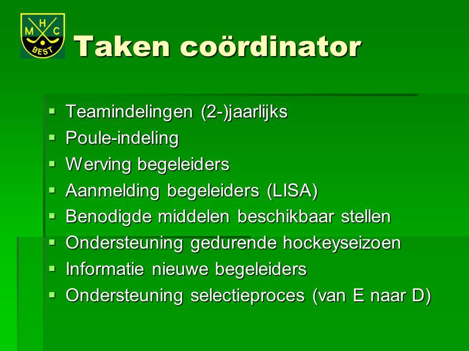 Taken coördinator Teamindelingen (2-)jaarlijks Poule-indeling
