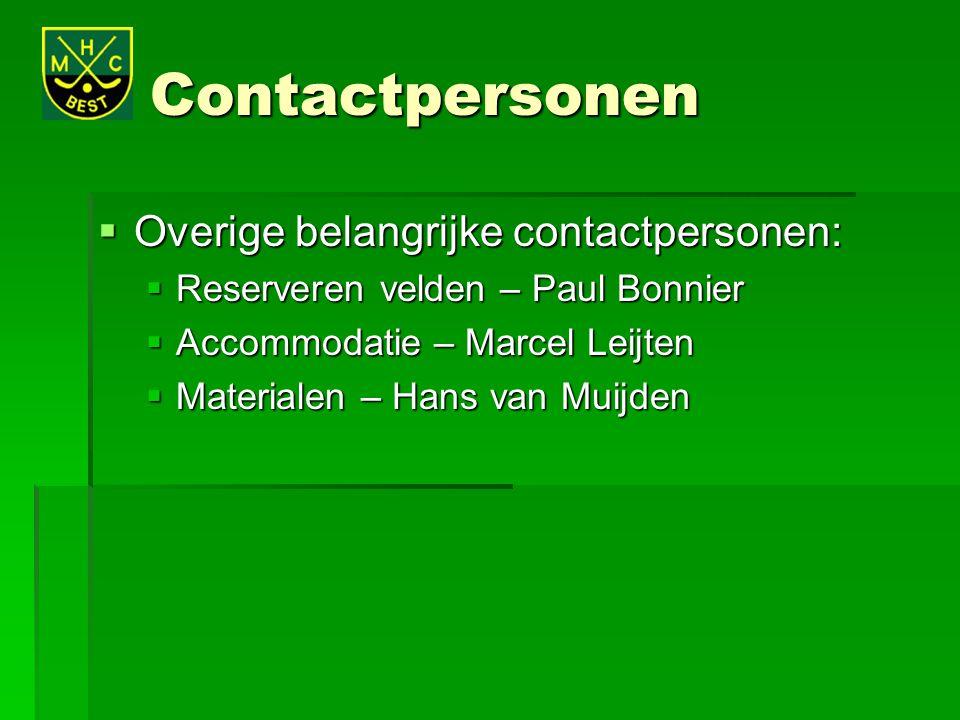 Contactpersonen Overige belangrijke contactpersonen: