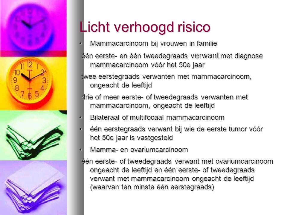 Licht verhoogd risico Mammacarcinoom bij vrouwen in familie
