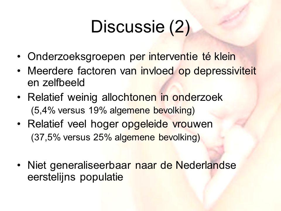 Discussie (2) Onderzoeksgroepen per interventie té klein