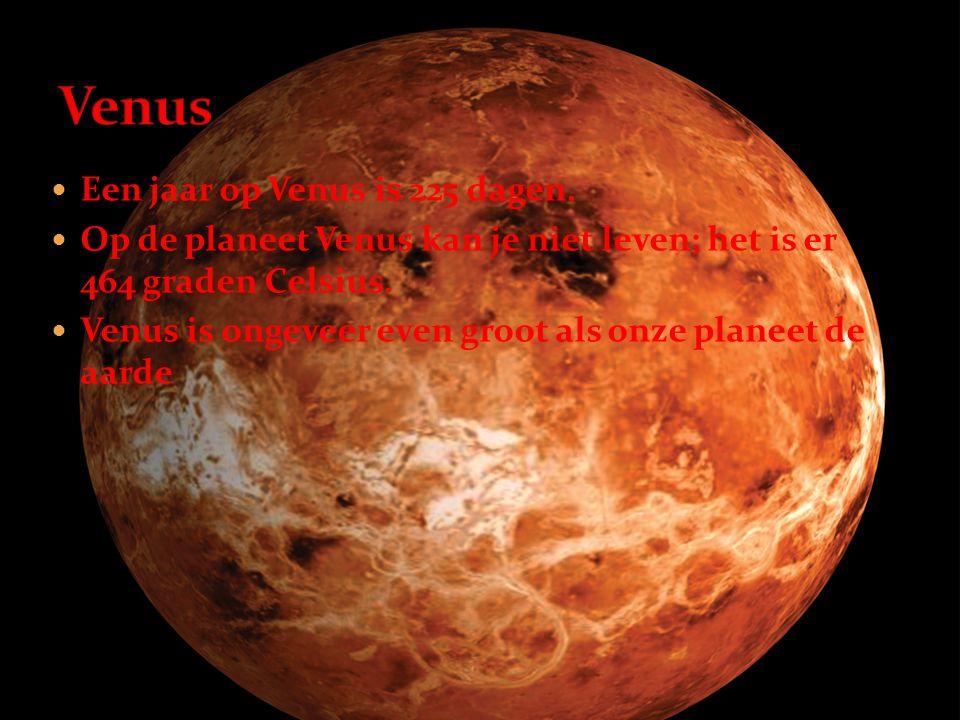Venus Een jaar op Venus is 225 dagen.