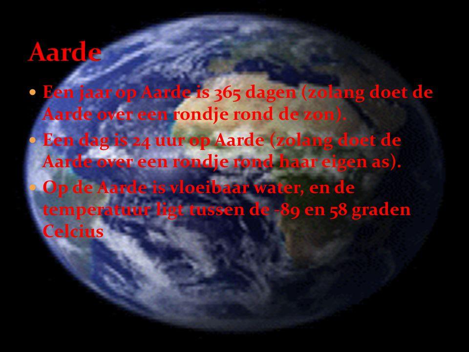 Aarde Een jaar op Aarde is 365 dagen (zolang doet de Aarde over een rondje rond de zon).
