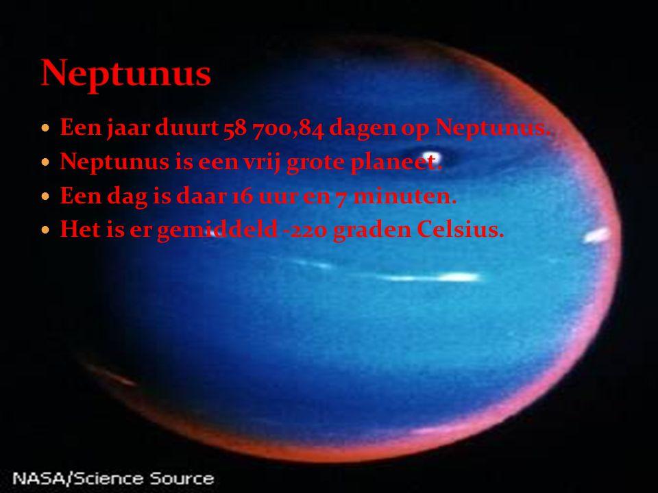 Neptunus Een jaar duurt 58 700,84 dagen op Neptunus.