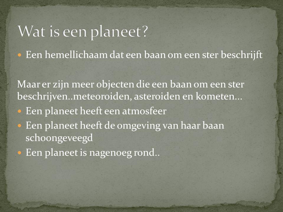 Wat is een planeet Een hemellichaam dat een baan om een ster beschrijft.