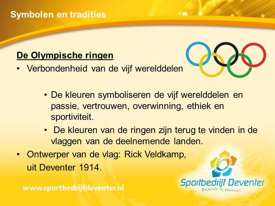 Symbolen en tradities De Olympische ringen. Verbondenheid van de vijf werelddelen.