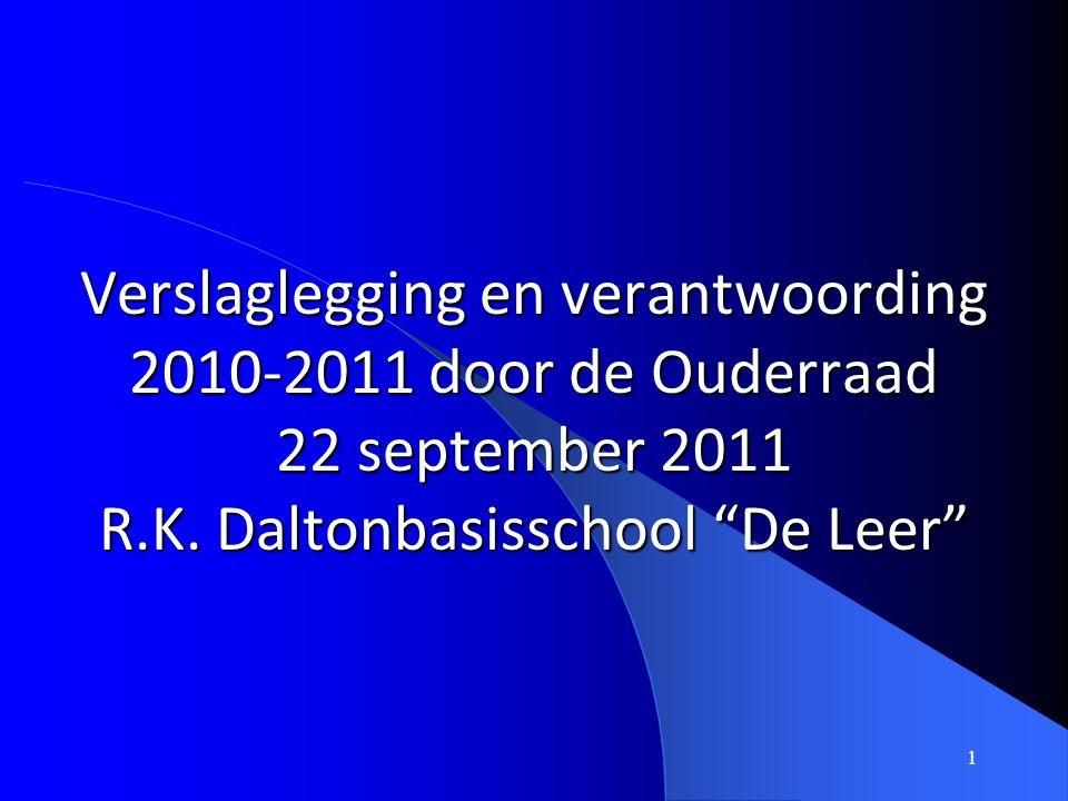 Verslaglegging en verantwoording 2010-2011 door de Ouderraad 22 september 2011 R.K.
