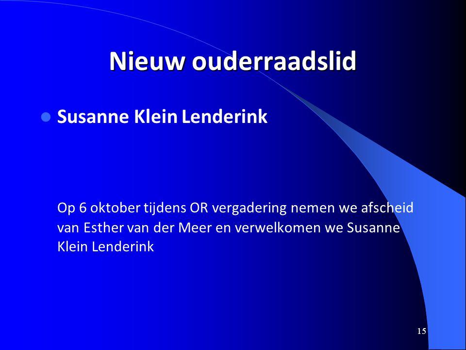 Nieuw ouderraadslid Susanne Klein Lenderink