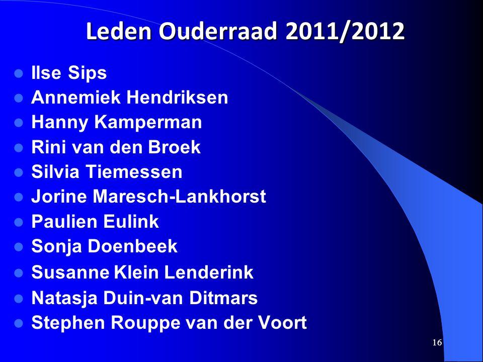 Leden Ouderraad 2011/2012 Ilse Sips Annemiek Hendriksen