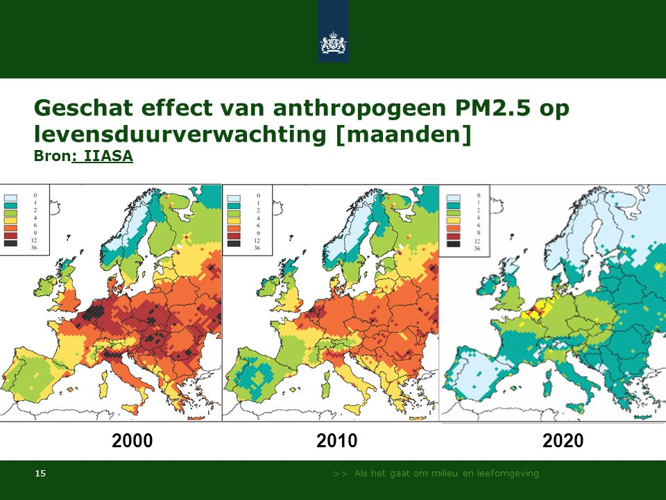 Geschat effect van anthropogeen PM2