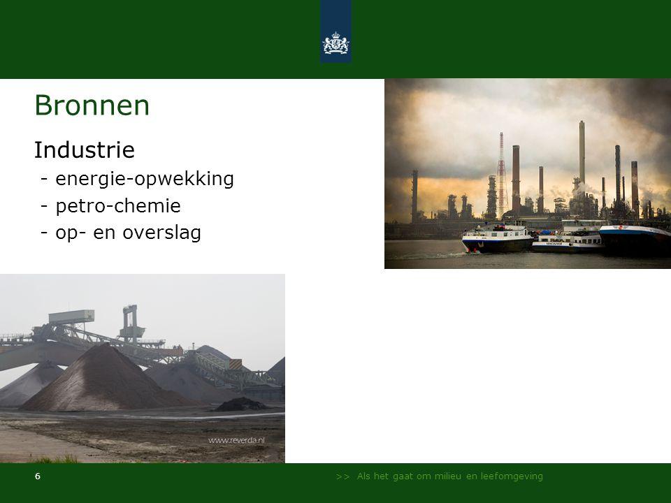 Bronnen Industrie - energie-opwekking - petro-chemie - op- en overslag