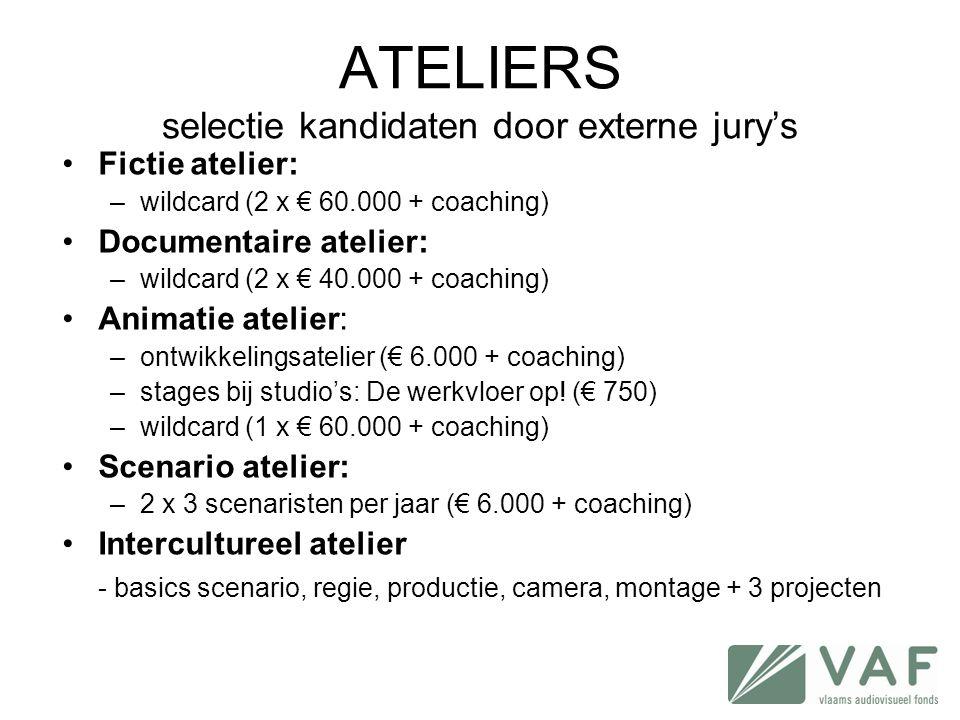ATELIERS selectie kandidaten door externe jury's