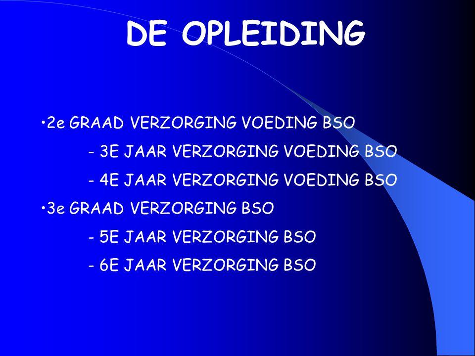 DE OPLEIDING 2e GRAAD VERZORGING VOEDING BSO