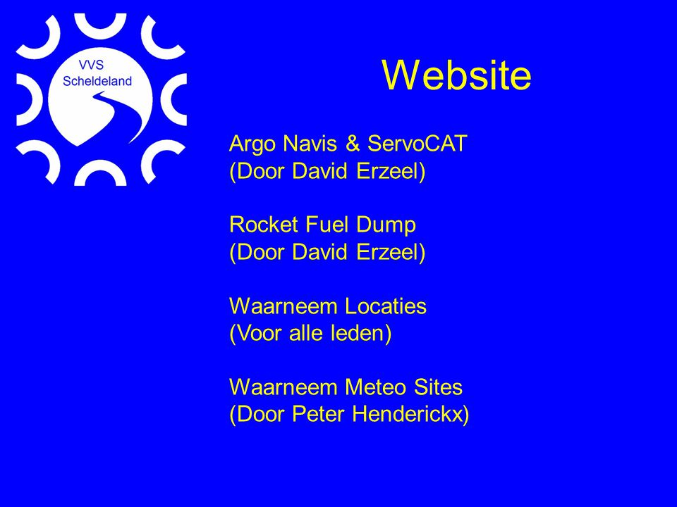 Website Argo Navis & ServoCAT (Door David Erzeel) Rocket Fuel Dump