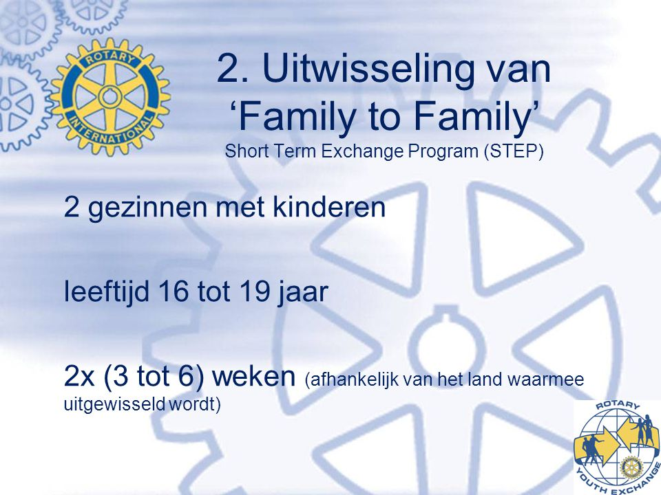2. Uitwisseling van 'Family to Family' Short Term Exchange Program (STEP)