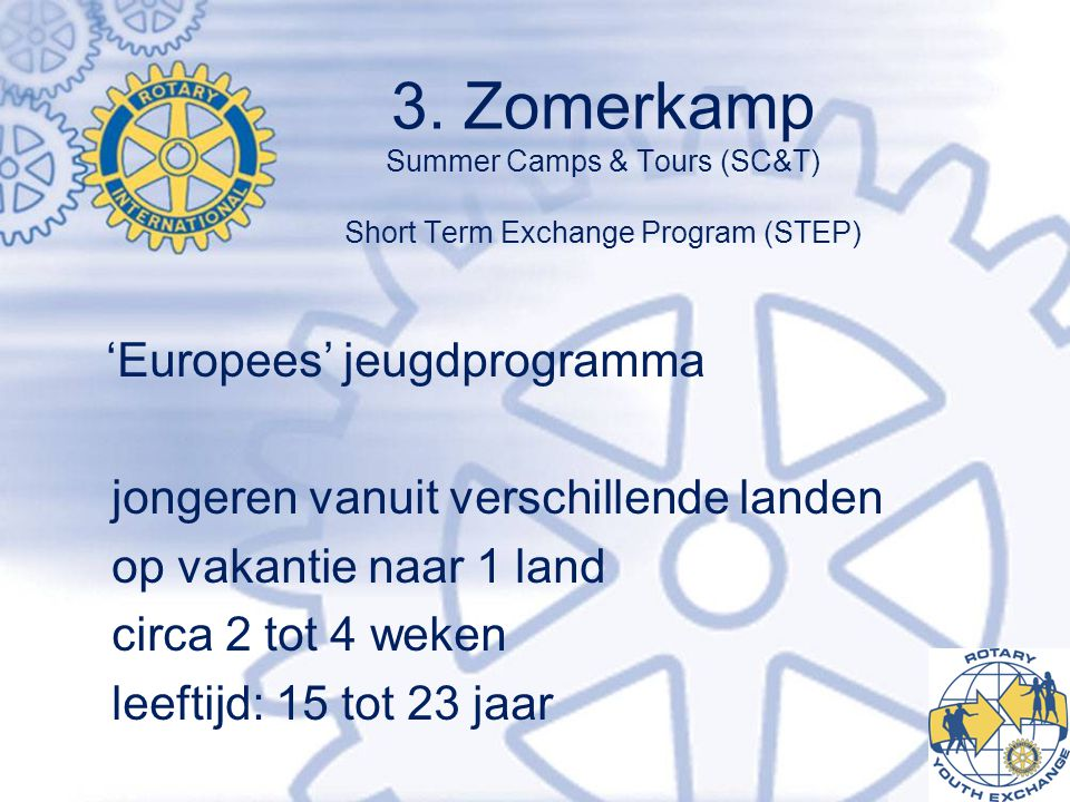3. Zomerkamp Summer Camps & Tours (SC&T) Short Term Exchange Program (STEP)
