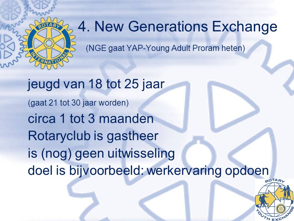 4. New Generations Exchange (NGE gaat YAP-Young Adult Proram heten)