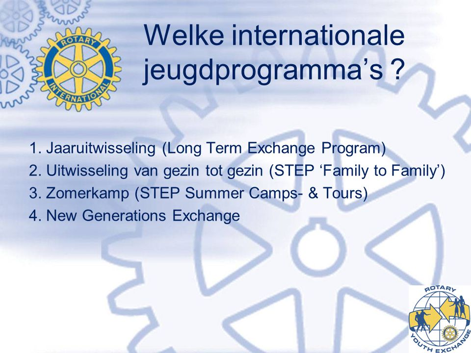 Welke internationale jeugdprogramma's