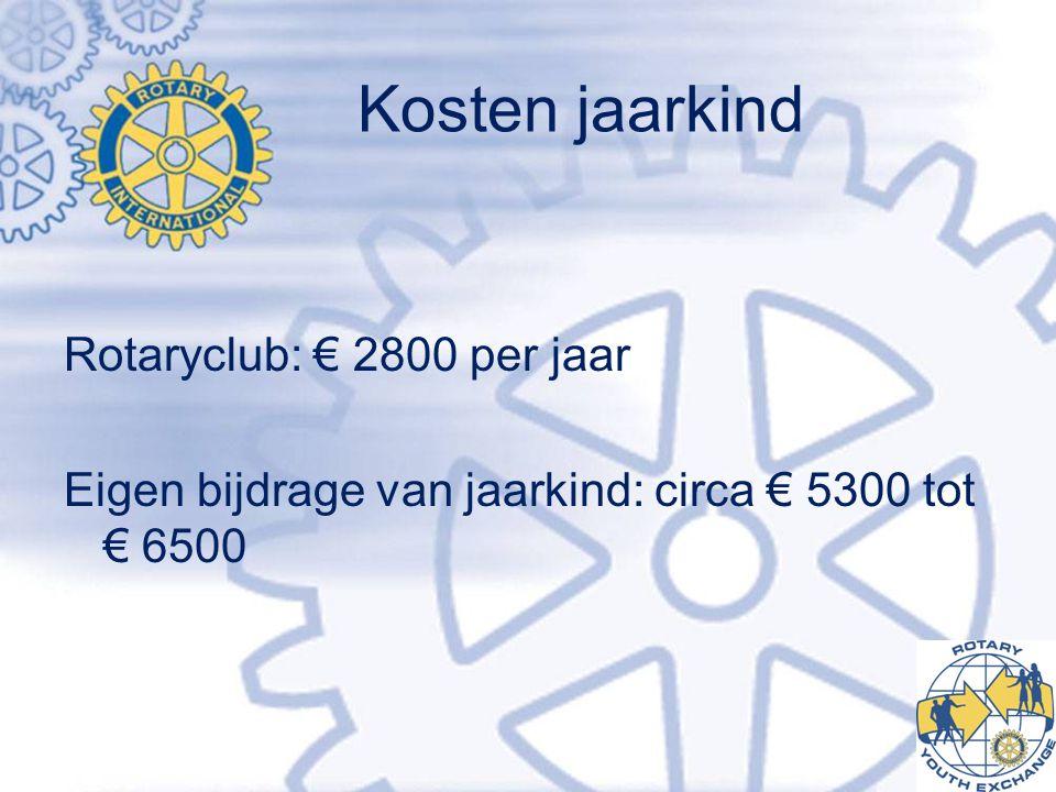 Kosten jaarkind Rotaryclub: € 2800 per jaar