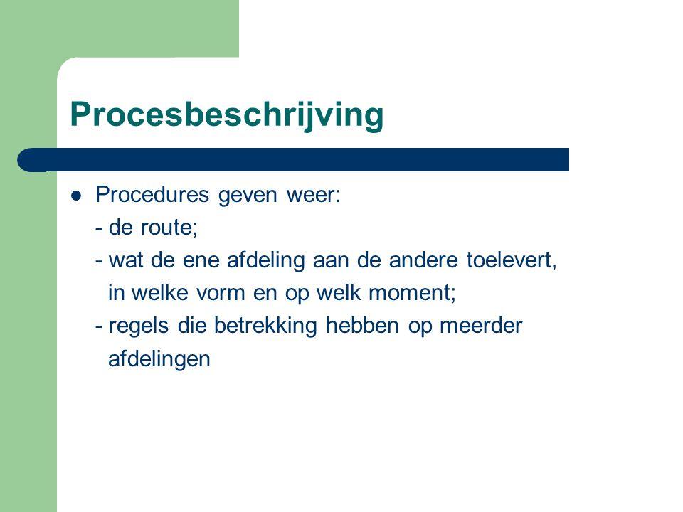 Procesbeschrijving Procedures geven weer: - de route;
