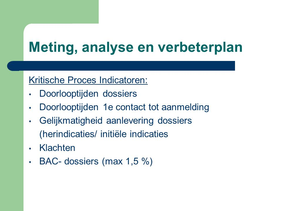 Meting, analyse en verbeterplan