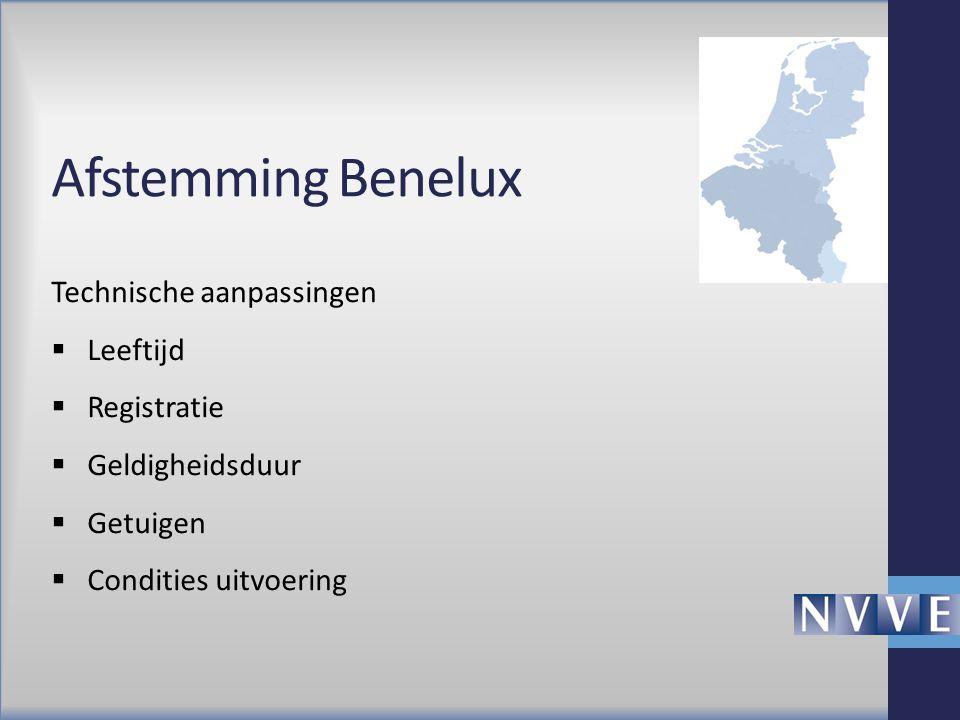 Afstemming Benelux Technische aanpassingen Leeftijd Registratie