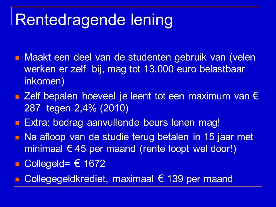 Rentedragende lening Maakt een deel van de studenten gebruik van (velen werken er zelf bij, mag tot 13.000 euro belastbaar inkomen)