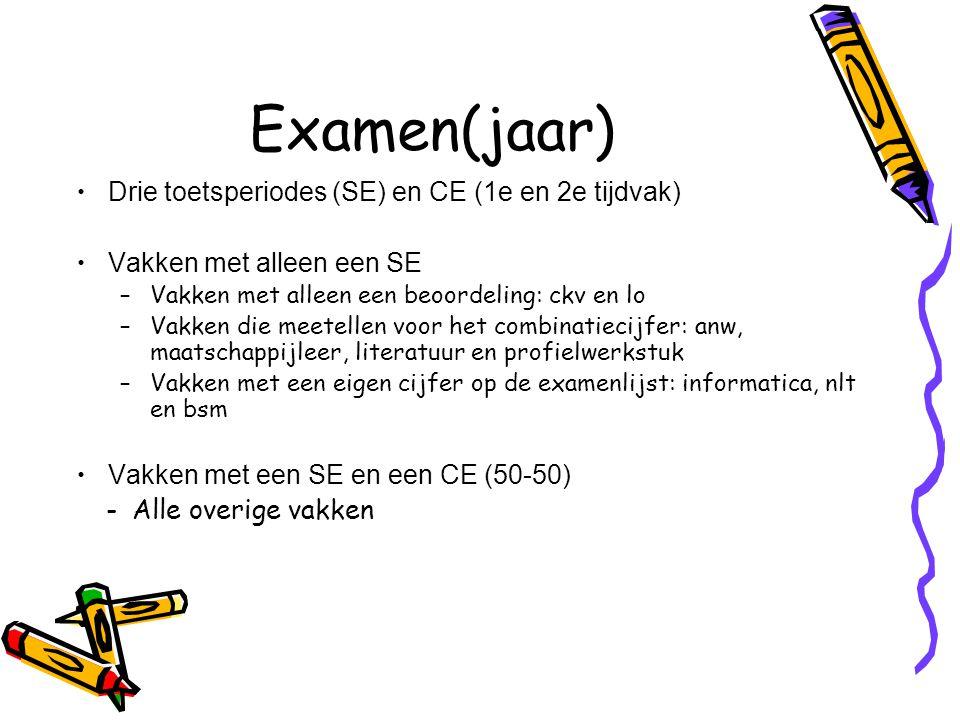 Examen(jaar) Drie toetsperiodes (SE) en CE (1e en 2e tijdvak)
