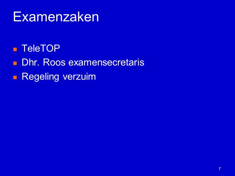 Examenzaken TeleTOP Dhr. Roos examensecretaris Regeling verzuim