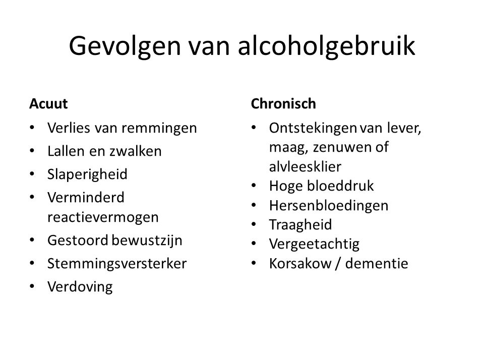 Gevolgen van alcoholgebruik